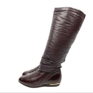 1970's Brazilian brown leather ruched boots w/gold